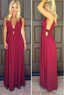 Beautiful Sleeveless Burgundy Prom Dress UKes UK Long Chiffon_1