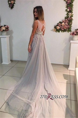 Sleeveless A-Line Crystal Sexy Court-Train Prom Dress UK_3