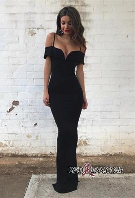 Black Floor-length Mermaid Off-the-Shoulder Modest Prom Dress UK SP0368_3