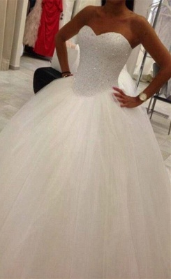 Elegant Sweetheart Sleeveless Tulle Wedding Dress Beadss Ball Gown Bridal Gowns_3