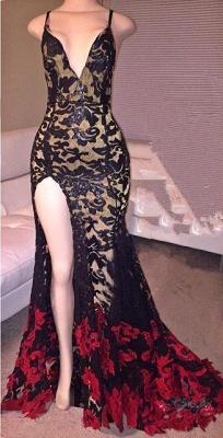 Elegant Black And Red Mermaid Prom Dress UK V-Neck Front Split_1