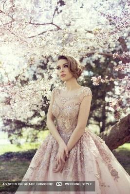 Elegant Cap Sleeve Pink Wedding Dress New Arrival Lace Appliques_3