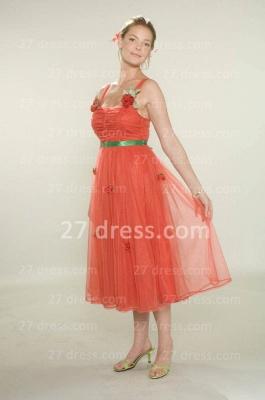 Bridesmaid Beautiful Orange Bridesmaid Dress UKes UK Wholesale Gowns for Straps Flowers Tulle Tea-length_2