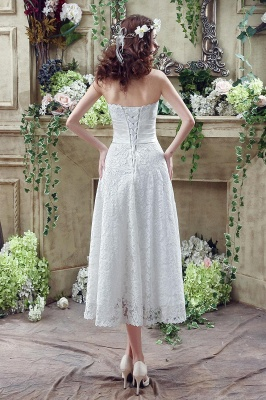 Delicate Lace Flower Strapless Wedding Dress A-line Sleeveless Lace-up_5