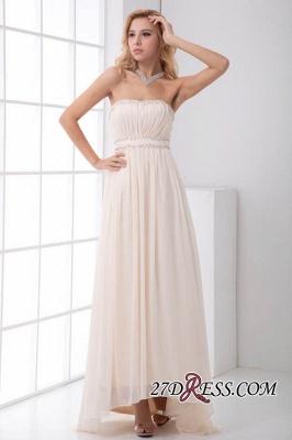 Sexy Open-Back Elegant Chiffon Beads Summer Sweep-Train Sleeveless Strapless Bridesmaid Dress UKes UK_6