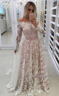 Sleeves Prom Shoulder Long A-Line Pink Newest Lace Dress UKes UK Off Pearls Evening Dress UKes UK_1