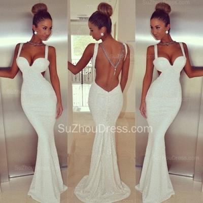 Elegant Backless White Sequins Prom Dress UK White Mermaid Sleeveless BK0_2