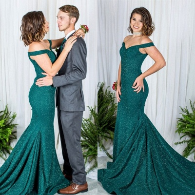 Green Off-the-Shoulder Prom Dress UK   Sequins Mermaid Evening Gowns_3