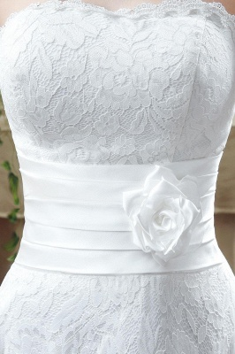 Delicate Lace Flower Strapless Wedding Dress A-line Sleeveless Lace-up_3