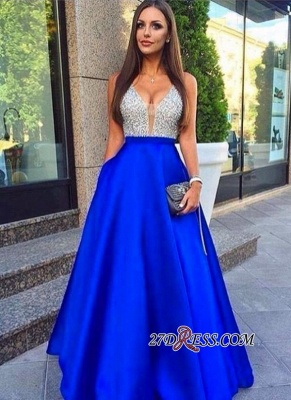 Puffy Pockets Royal-Blue V-Neck Sleeveless Beaded Prom Dress UKes UK BA4503_2