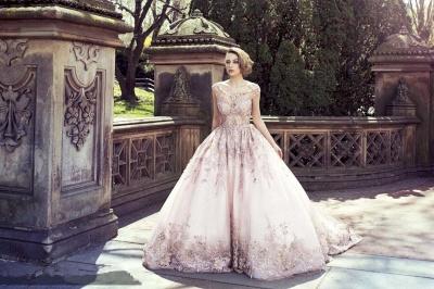 Elegant Cap Sleeve Pink Wedding Dress New Arrival Lace Appliques_5
