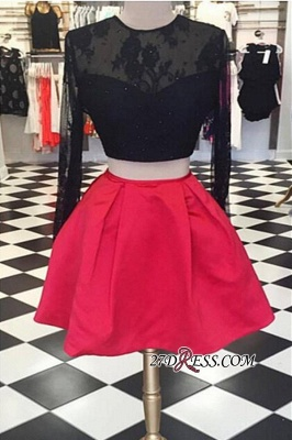Lace Short Two-Piece Halter Long-Sleeve Backless Homecoming Dress UKes UK_3