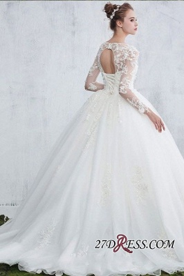 Lace Gown Long-Sleeve Ball White  Jewel Wedding Dresses UK_1