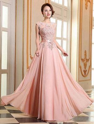 Elegant A-line Jewel Chiffon Prom Dress UK Lace Appliques_5