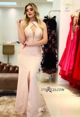 Embroidery Halter Sexy Mermaid Front-Slit Prom Dress UKes UK_4