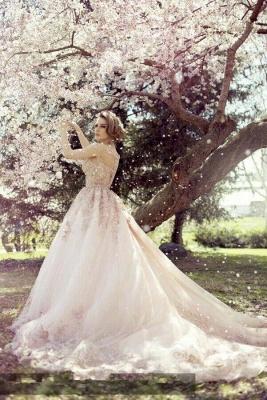 Elegant Cap Sleeve Pink Wedding Dress New Arrival Lace Appliques_1