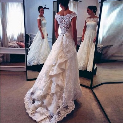 Amazing Short Sleeve Lace Wedding Dresses UK Zipper Button Designer Bridal Gowns_3