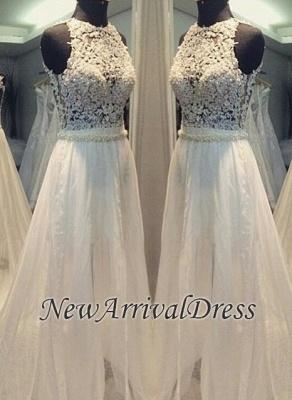 Scoop Neckline Simple Hollow Sweep-train A-line Sleevess Wedding Dress_2
