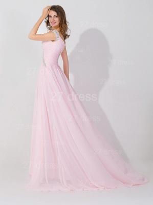 Elegant Beadings Cap Sleeve Evening Dress UK Chiffon Pink A-line_3