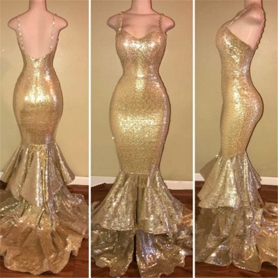 Gorgeous Spaghetti Straps Prom Dress UK Long Sequins Mermaid Party Dress UK With Ruffles_2