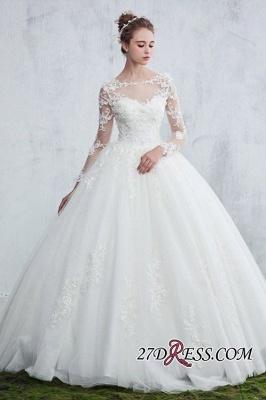 Lace Gown Long-Sleeve Ball White  Jewel Wedding Dresses UK_3