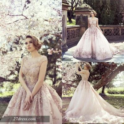 Elegant Cap Sleeve Pink Wedding Dress New Arrival Lace Appliques_4