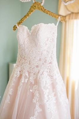 Newest Lace Tulle Princess Wedding Dress Sweetheart Sweep Train JT017_2