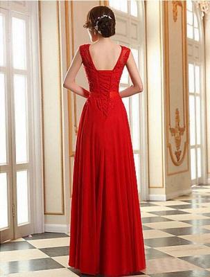 Elegant A-line Jewel Chiffon Prom Dress UK Lace Appliques_2