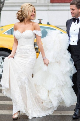 Sexy Mermaid Wedding Dress Strapless Lace Tulle Cheap Bridal Gowns with Cathedral Train_4