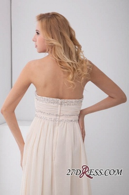 Sexy Open-Back Elegant Chiffon Beads Summer Sweep-Train Sleeveless Strapless Bridesmaid Dress UKes UK_2