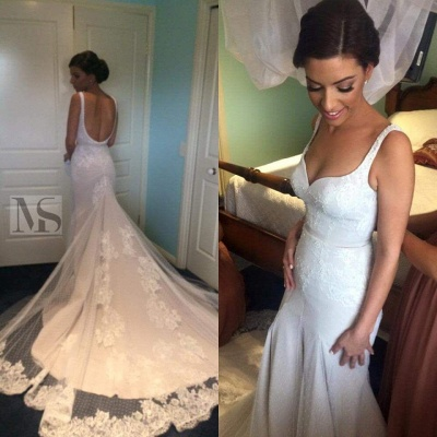 Elegant Sexy Mermaid Lace Appliques Wedding Dress Open Back Long Train_1