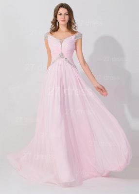Elegant Beadings Cap Sleeve Evening Dress UK Chiffon Pink A-line_2
