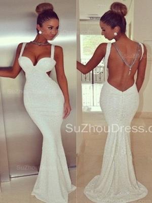 Elegant Backless White Sequins Prom Dress UK White Mermaid Sleeveless BK0_1