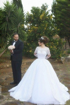 Tulle Lace Jeewl Long-Sleeves Ball-Gown Arabic White Wedding Dress_1