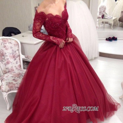 Ball-Gown Princess Lace V-neck Long-Sleeves Tulle Off-the-shoulder Sexy Evening Dress UKes UK jj0074_1