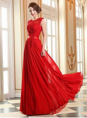 Elegant A-line Jewel Chiffon Prom Dress UK Lace Appliques_1