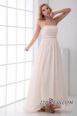 Sexy Open-Back Elegant Chiffon Beads Summer Sweep-Train Sleeveless Strapless Bridesmaid Dress UKes UK_5