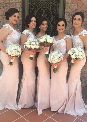 Sexy Off-shoulder Mermaid Bridesmaid Dress UK Floor-length With Lace Appliques_1