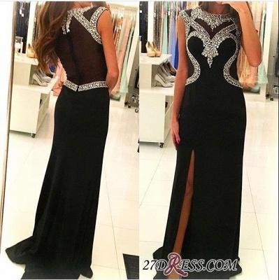 Black Sleeveless Sheath Crystal Side-Slit Gorgeous Prom Dress UK_1