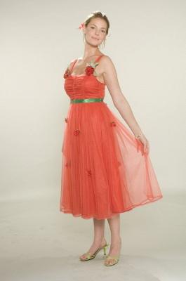 Bridesmaid Beautiful Orange Bridesmaid Dress UKes UK Wholesale Gowns for Straps Flowers Tulle Tea-length_1