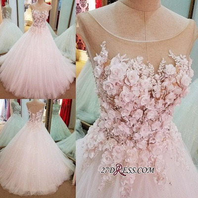 Flowers Ball-Gown Lace-Up Glamorous Cap-Sleeves Wedding Dress_1