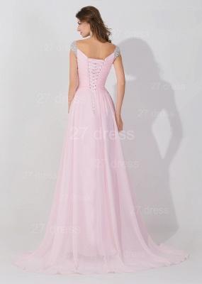 Elegant Beadings Cap Sleeve Evening Dress UK Chiffon Pink A-line_4