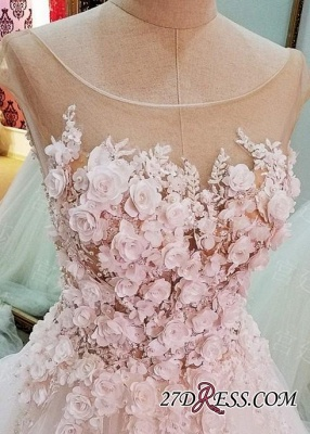 Flowers Ball-Gown Lace-Up Glamorous Cap-Sleeves Wedding Dress_2