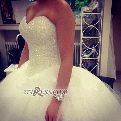 Elegant Sweetheart Sleeveless Tulle Wedding Dress Beadss Ball Gown Bridal Gowns_2