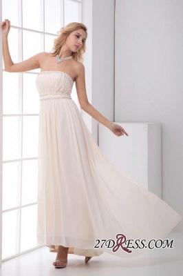 Sexy Open-Back Elegant Chiffon Beads Summer Sweep-Train Sleeveless Strapless Bridesmaid Dress UKes UK_3