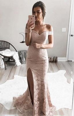 Off-the-Shoulder Lace Split Mermaid Luxury Evening Dress UK_3