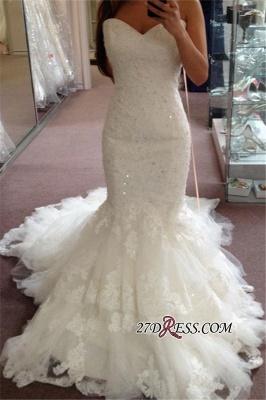 Tiered Tulle Elegant Sexy Mermaid Sequins Appliques Sweetheart Wedding Dresses UK BA3776_2