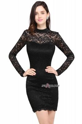 Short Black Long-Sleeves Lace High-Neck Party Dress UK_2