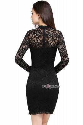 Short Black Long-Sleeves Lace High-Neck Party Dress UK_5