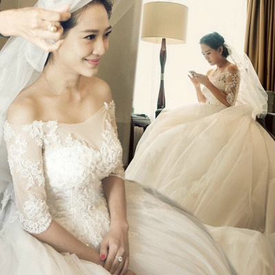 Newest Off-the-shoulder Lace Sequins Wedding Dress Tulle Half Sleeve_3